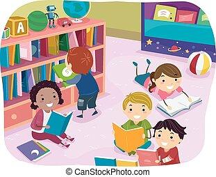 子供, stickman, 読書, 幼稚園, 時間