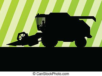 季節的, 収穫機, コンバイン, 農業, 農業, 風景