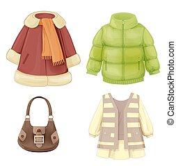 季節的, 服, セット, コート, パッドを入れられる, girls., parka, 衣服