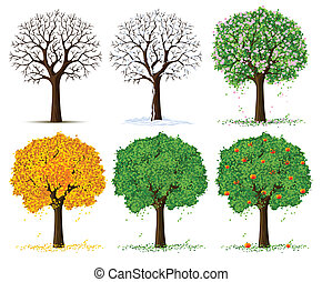 季節的, 木, シルエット