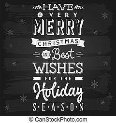 季節, 休日, 挨拶, 黒板, クリスマス