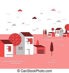 季節, 近所, 住宅の, 美しい, 小さいグループ, ごく小さい, 家, 町, 秋, 村, 光景