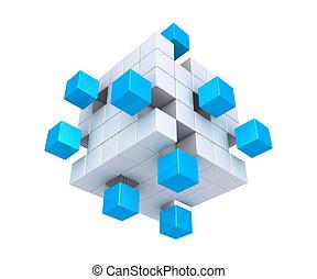 孤立した, 立方体, 広場, オブジェクト