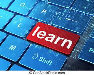 学びなさい, コンピュータ, 背景, キーボード, 教育, concept: