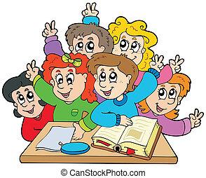 学校の 子供, グループ
