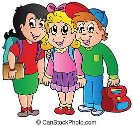 学校の 子供, 3, 幸せ