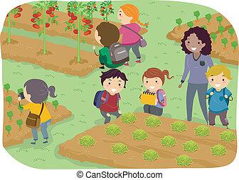 学校の 子供, stickman, 庭, 野菜, 旅行