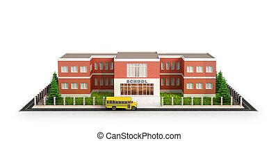 学校庭, バス, 隔離された, イラスト, バックグラウンド。, 前部, 白, 建物。, 建物, 3d