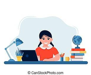 学校, イラスト, オンラインで学ぶ, 子供, ベクトル