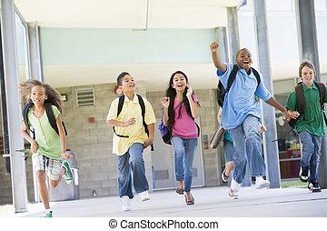 学校, ドア, 生徒, 離れて, 6, 動くこと, 前部, 興奮させられた