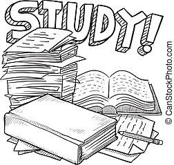 学校, 勉強しなさい, スケッチ