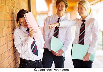 学校, 同級生, ある, 高く, 女の子, いじめられた