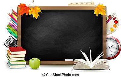 学校, school., 黒板, 背中, supplies., vector.