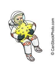 宇宙飛行士, 星, 若い, 抱き合う, 宇宙服