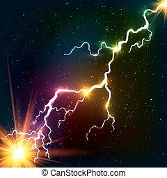宇宙, 虹, 血しょう, 照ること, 色, 稲光
