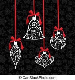 安っぽい飾り, 挨拶, 背景, カード, クリスマス