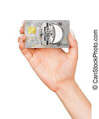 安全である, 金融, concept., door., イラスト, 手, クレジット, 保有物, 開いた, カード, 3d