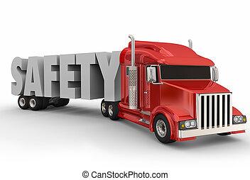 安全, 運転, トレーラー トラック, 用具一式, 半, 3d, 大きい, 訓練, 単語