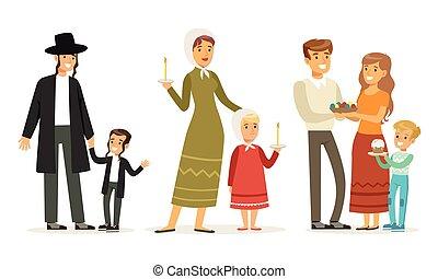 宗教, コレクション, 子供, 親, 別, イラスト, 衣服, ベクトル, 伝統的である, 家族