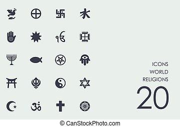 宗教, セット, 世界, アイコン