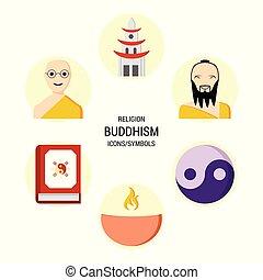 宗教, ベクトル, セット, アイコン