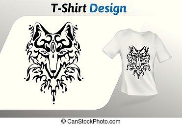 定型, 入れ墨, の上, 隔離された, 顔, tシャツ, バックグラウンド。, ベクトル, 狼, デザイン, 白, print., template., mock, テンプレート