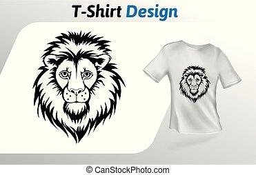 定型, 入れ墨, の上, 隔離された, 顔, tシャツ, バックグラウンド。, ライオン, ベクトル, デザイン, 白, print., template., mock, テンプレート
