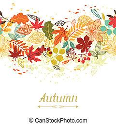 定型, 葉, 挨拶, 秋, 背景, カード。