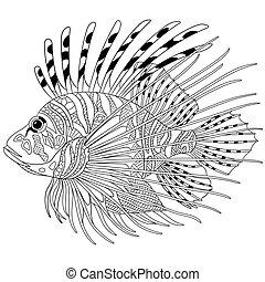 定型, zentangle, fish