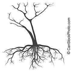 定着する, ベクトル, 木, 背景, 死んだ