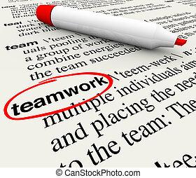 定義, 一周される, 単語, 辞書, チームワーク