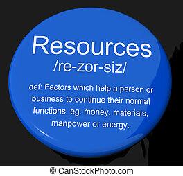 定義, 資産, ビジネス, マンパワー, ボタン, 材料, 資源, ショー