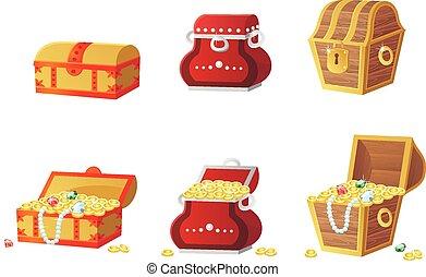 宝石, フルである, 金, 宝物, イラスト, 胸, ベクトル, コイン