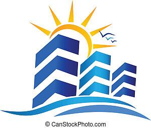 実質, 太陽, ロゴ, 財産, アパート