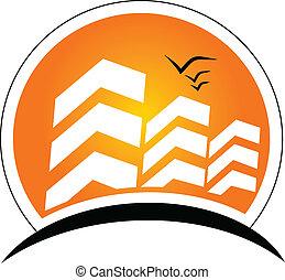 実質, 太陽, 建物, 財産, ロゴ