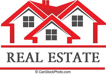 実質, 家, 会社, 財産, ロゴ