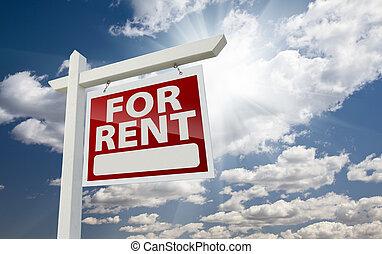 実質, 権利, 財産, 空, 上に, 日当たりが良い, 印, 表面仕上げ, 賃貸料