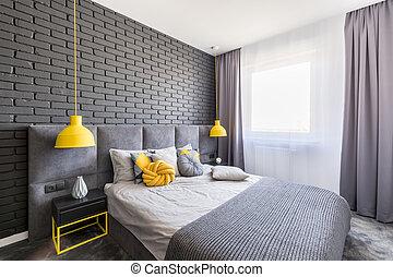 実質, 結び目, 写真, 灰色, 黄色, 壁, 窓, ランプ, 2, クッション, 寝室, 内部, れんが, カーテン