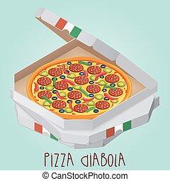 実質, box., diabolical., diabola., diabo., イタリア語, ピザ