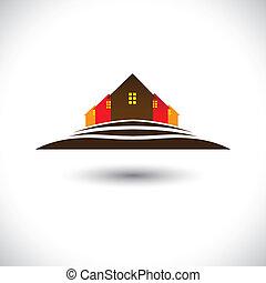 実質, house(home), 財産, &, 丘, 住宅, 市場, アイコン