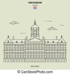 宮殿, 皇族, アムステルダム, ランドマーク, netherlands., アイコン