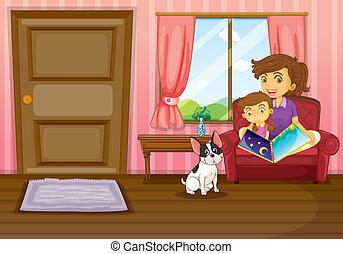 家の 後をつけなさい, 女の子, 中, 母, 読書