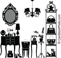 家具, 女, 部屋, 化粧品