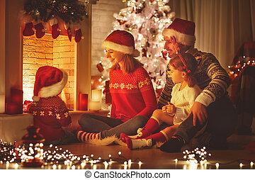 家族, モデル, イブ, 暖炉, クリスマス, 幸せ