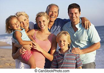 家族, 世代, 3, 肖像画, 休日, 浜