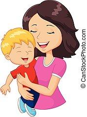 家族, 幸せ, 漫画, 保有物, 母