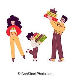家族, 漫画, illustration., 贈り物, 休日, 平ら, ベクトル, クリスマス