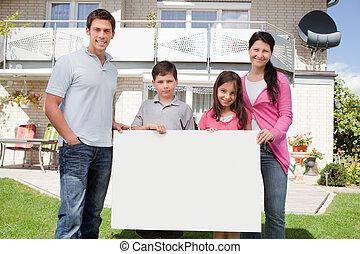 家族, 若い, 黒, 板, 保有物, 白