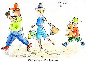 家族, 観光客, 観光