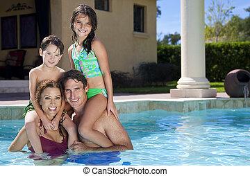 家族, 2, 遊び, 幸せ, 子供, プール, 水泳